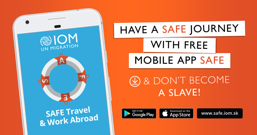 Don´t become a victim of human trafficking! Try the mobile app SAFE first.