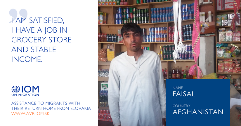 Faisal from Afghanistan: I am satisfied, I have a job in grocery store and stable income.