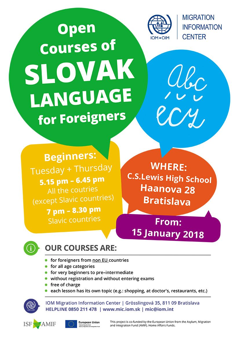 Poster IOM MIC - New cycle of Open Courses of Slovak Language for Foreigners from 15 January 2018 in Bratislava - beginners