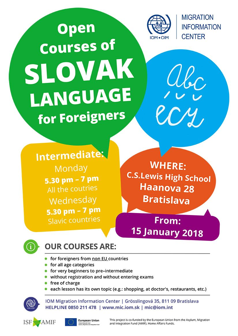 Poster IOM MIC - New cycle of Open Courses of Slovak Language for Foreigners from 15 January 2018 in Bratislava - intermediate